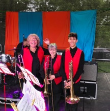 Trombone section at Elderflower Fields, 26 May 2019
