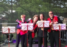UCB's horn section at Elderflower Fields, 26 May 2019