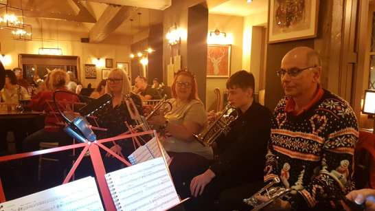 Uckfield Concert Brass at the Highlands Inn, Uckfield, 15 December 2019